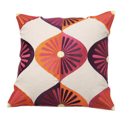 Emma at Home - Royal Fans Pillow, Sunshine - Flower power never looked so chic! This mod design offers big color and impact, all tempered by a natural linen background.