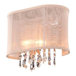 "Joshua Marshal Collection - 1 Light 11'' Linear Wall Sconce Lighting Fixture with Crystal and Oyster Shade - Once its overwhelming unique beauty greets you, it's no surprise why our Crystal Fusion Design is our fastest selling collection yet. Beautifully cut european crystal are draped over a polished chrome base which will enhance and add a sophisticated look to any room. This design truly is a fusion of traditionally cut crystals blended with a contemporary atmosphere to create dramatic lighting effects for a chic, stylized environment. The combination of light and crystal breathes life and energy into any space. This beautiful fixture is 11"" wide by 10"" tall (adjustable height)."