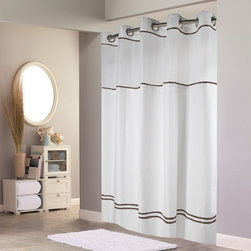 Hookless - Hookless Escape with It's a Snap PEVA Liner White & Brown Fabric Shower Curtain - Shop for Shower Curtains from Hayneedle.com! Lighten up the look of your bathroom with the clean appeal of the Hookless Escape with It's a Snap PEVA Liner White & Brown Fabric Shower Curtain. Step out of the shower feeling refreshed by this sophisticated shower curtain featuring a white backdrop with brown striped accents. A sheer top panel lets in extra light while 100% 150-density plainweave polyester construction keeps water in the shower and off the floor. The patented flex-on rings in brilliant chrome make hanging this curtain a breeze. Machine-wash this curtain on gentle to keep it in top-notch shape for showering. Simply hand-wash the liner with mild soap and water for best results. Fits most standard showers.
