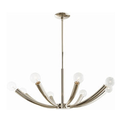 Arteriors - Dieter Chandelier, Nickel - Let the light bulbs steal the show with this chandelier. Whether you go for industrial Edison bulbs or mix it up with a bit of color, you can't go wrong with this simple and elegant piece. The eight curved arms will support 60-watt bulbs and light up your room beautifully.