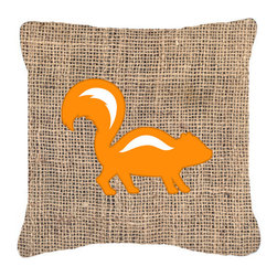 Caroline's Treasures - Skunk Burlap and Orange Fabric Decorative Pillow Bb1125 - Indoor or Outdoor pillow made of a heavy weight canvas. Has the feel of Sunbrella fabric. 14 inch x 14 inch 100% Polyester Fabric pillow Sham with pillow form. This pillow is made from our new canvas type fabric can be used Indoor or outdoor. Fade resistant, stain resistant and Machine washable.