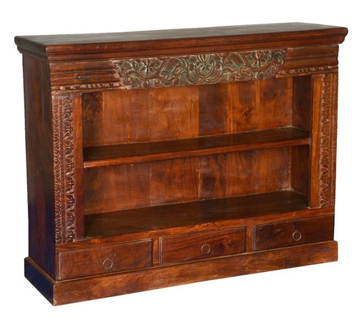 Sierra Living Concepts - Langley Reclaimed Wood Carved Open Display Bookcase - Add the tradition of old world artistry and classic style to you living room, dining room, or media center with the Langley Reclaimed Wood Carved Open Display Bookcase. This magnificent piece can be set on top of a buffet as a credenza or Hutch or used as a stand-alone book case. The open shelves allow easy access to media equipment so it can also be used as an entertainment cabinet.