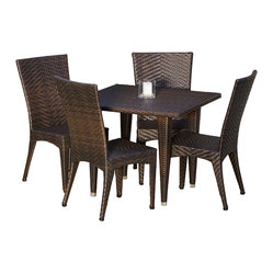 Great Deal Furniture - Brooklyn 5-pieces Outdoor Wicker Dining Set - Whether on a cool Fall day or a warm Summer morning, food just tastes better when eaten outdoors, especially when at our Brooklyn 5-pieces Outdoor Wicker Dining Set. This stylish dining table, made of durable all-weather PE wicker, comfortably seats four but still offers an intimate setting suitable for a romantic meal. Our beautiful, one-of-a-kind wicker provides an aesthetic appeal that makes the table and chairs fit the most formal, most casual, and all decors in between. The rich, natural color of the wicker will fit with any nearby landscape if used outdoors, or decor if used by a pool or inside a screened porch. Rain or shine, this set can take it, don't worry about staining or fading.
