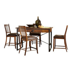 Hammary - Hammary Baja 5-Piece Extension Leaf Dining Room Set in Vintage Umber - 5-piece extension leaf dining room set in vintage umber belongs to Baja collection by Hammary