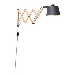 "Domus - Domus EDWARD Wall Sconce - The classical scissor-arm wall lamp in a new fresh berlin look. The finely balanced mechanism allows the wooden scissor arm to be extended steplessly to the desired position. So EDWARD is always there, where he is needed and can be placed (flexibly) either in a private or a public area. The electric main is made of anthracite high-grade textile cable with a hand dimmer. The lamp shade in a slight conical for is made with a brilliant cotton-polyester chintz and is available in ivory or graphite.  Product Details The classical scissor-arm wall lamp in a new fresh berlin look. The finely balanced mechanism allows the wooden scissor arm to be extended steplessly to the desired position. So EDWARD is always there, where he is needed and can be placed (flexibly) either in a private or a public area. The electric main is made of anthracite high-grade textile cable with a hand dimmer. The lamp shade in a slight conical for is made with a brilliant cotton-polyester chintz and is available in ivory or graphite.                         Manufacturer            Domus                            Designer            nachacht                            Made In            Germany                            Dimensions            Max Height:14 1/4""(36cm)X Width: 16 1/2- 35 1/4"" (42-90cm)                            Light Bulbs            1 X 48W G9 Halogen                            Material            Wood, Fabric and Textile Cable"