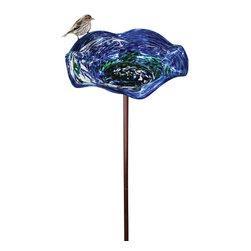 Echo Valley - Echo Valley Illuminarie Birdbath with Stand, Blue Swirl (4 Pack) (5131) - Echo Valley 5131 Illuminarie Birdbath with Stand, Blue Swirl (4 Pack)