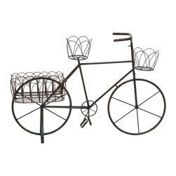 Benzara - Metal Planter Bike with Intricately Carved Aesthetic Appeal - The Metal planter bike that is carved intricately with fine attention to detail adds to the aesthetic value of your contemporarily designed living room. Keep it in your terrace garden; add a small plant to the planter and see how the metal planter bike enhances the beauty of your garden. The metal used in making this planter ensures that it lasts long, doesn't get dented and therefore it is an excellent and permanent addition to your decor. This metal planter bike is crafted in China and since it is so versatile, it can be easily blended into the decor of your office. It comes with a dimension of 35 in.  H x 53 in.  W x 19 in.  D.