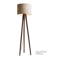 "Domus - STEN Cloud Floor Lamp - Product Details     STEN, the modern interpretation of a timeless classic. With its casual charm and beautiful lighting ambience, this stable tripod, available in oiled white oak or oiled walnut, sets new accents. both for residental and office spaces. The cylindrical screen appears to rest nearly weightlessly on the delicate wooden structure of the three tapered legs. The STEN Cloud lampshade is crafted in an elaborately pleated and crashed trevira. A nice feature is the pull switch in the shape of a long rod that comes with the lamp in both silver and red. A textile cable-silver for the oak, black for the walnut version- adds to the high quality appeal of the lamp. The E27 fixture can be fitted with both halogen and compact fluorescent lamps.                                Manufacturer              Domus                                  Designer              Design Weige                                  Made In              Germany                                  Dimensions              Max Height: 60 1/4"" (153cm)X Width: 17 1/4"" (44cm)                                  Light Bulbs              1 x 75W E27 halogen                                  Material              Wood, Fabric and Metal"