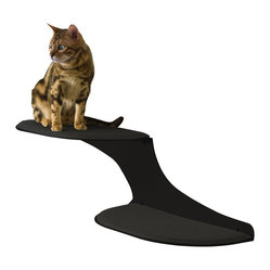 Cat Clouds Cat Shelf in Black - Sleek as a shadow on your wall, this double cat shelf floats above the room, offering a perfect landing pad for your feline. Your kitty will love the soft, faux sheepskin cover and the lofty height overlooking the scene; you'll love how it keeps kitty off your furniture.