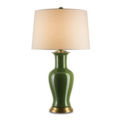 Currey and Company - Bottle Green Table Lamp - Why settle for a lamp when you can have a work of art? With a bottle-green crackle finish and brass fittings, this lamp will add style and flair to your living room or den.