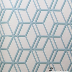 Steve Leung Ling Cream/Duck Egg Wallpaper - Bold and modern, this geometric wallpaper is a great fit for a contemporary home.