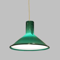 Holmegaard Green Pendant Lamp from Denmark - Vintage 1960s Danish Modern Hanging Lamp by Holmgaard.