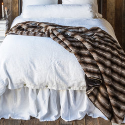 """Bella Notte - Bella Notte Throw Blanket Empress - Bella Notte offers luxurious, eco-friendly linens and decor in custom-dyed colors and irresistible textures. A rich and sumptuous accent, the Empress faux mink fur blanket lends plush comfort to the bedroom or living room. This glamorous cinder gray throw is backed in indulgently soft silk velvet and finished with light padding. Silk velvet available in several color options. Each order is custom made in the USA and considered a final sale. 49""""W x 78""""L. Faux fur: 84% acrylic/16% polyester. Silk velvet: 82% rayon/18% silk."""