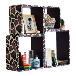 Blancho Bedding - [Purple Giraffe]Square Leather Wall Shelf / Bookshelf / Floating Shelf(Set of 4) - These rounded corner wall cube shelves add a new and refreshing element to your room and can be easily combined with other pieces to create a customized wall space. Coming in various colors and sizes, they spice up your home's decor, add versatility, and create a whole new range of storage spaces. You can hang them on the wall, or have them stand on table or floor, any way you like. Fashion forward design has never been so functional. This range of faux leather storage cubes is sure to delight! Perfect for wall mounting, these modern display floating shelves are sure to delight. Constructed from MDF with a top faux leather wrapping. Easy to mount, easy to love! Attractive shelf boxes give any wall in your home a striking appearance. Arrange in whatever fashion you like - whether it be grouped together or displayed separately. Each box serves as a practical shelf, as well as a great wall decoration.