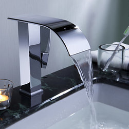 Contemporary Waterfall Bathroom Sink Faucet In Chrome 8081 - Goods Brief: