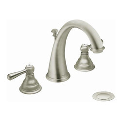 Kingsley brushed nickel two-handle high arc bathroom faucet - The classic look of Kingsley offers enthusiasts of traditional style the opportunity to make their rooms stand out. Each understated detail comes together to create an enduring style.