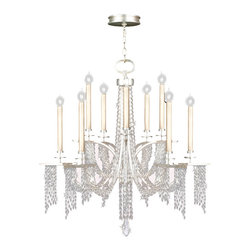 Fine Art Lamps - Cascades Chandelier, 748840ST - All the ornate drama of a crystal chandelier — now in a decidedly updated design. Lavish your favorite formal space with woven hand-cut crystals spilling divinely from shimmering light.