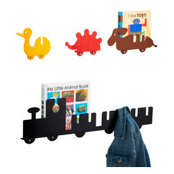 Whimsy Wall-Mounted Hooks - These adorable children's hook racks not only help keep coats off the floor, but also hold books neatly! They're multifunctional and beautiful, and I love them.
