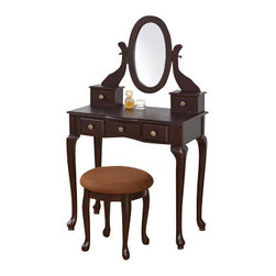 """ADAD548-ESP - Espresso Finish Wood 3-Piece Bedroom Vanity Set with Mirror and Stool - Espresso finish wood 3-piece bedroom vanity set with mirror and stool and multiple drawers. Vanity includes the vanity table with multiple drawers, mirror and stool with upholstered seat. Vanity measures 30"""" x 16"""" x 521"""" H. Stool measures 16"""" x 16""""H. Some assembly required."""