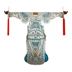 China Furniture and Arts - Hand Embroidered Imperial Dragon Silk Kimono - Kimonos made with exceptional skill and using high grade materials have long been considered an art form. This hand-embroidered silk kimono features intricate flowing patterns done in rich and vibrant blue tones. Twin dragons are stitched at both the feet and waist, while a longevity symbol adorns the chest. A piece with genuine history, one look upon this elaborate and vintage garment  will leave the imagination wondering. It is a one-of-a-kind collector's piece to own and admire for generations. Kimono is aged and comes as pictured without hanger. Imported. Tassels not included.