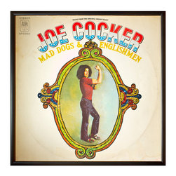 """Glittered Joe Cocker Album - Glittered record album. Album is framed in a black 12x12"""" square frame with front and back cover and clips holding the record in place on the back. Album covers are original vintage covers."""