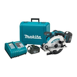 "Makita - 18V Lxt Circular Saw Kit - Heavy gauge, precision machined base for smooth, accurate cutting, built in dust blower and LED light, soft grip handle, charger communicates with the battery's built in chip throughout the charging process to optimize battery life by actively controlling   current, voltage and temperature with a built in fan to cool the battery, charger earned the Energy Star label for meeting the strict energy-efficient guidelines set by the EPA and DOE. Specs: 6-1/2"" blade diameter, 5/8"" arbor, no load speed 3,700RPM, ma  x cutting depth at: 90 degrees- 2-1/4"", 45 degrees-1-9/16"", 50 degrees 1-7/16"", battery is 18V LXT Lithium-Ion, 13-5/8"" long, weighs (w/battery) 7.6lbs. Includes: (2) 18V LXT Lithium-Ion Batteries, (1) 30-minute rapid optimum charger, (1) 2  4T carbide tipped blade, tool case.        This item cannot be shipped to APO/FPO addresses.  Please accept our apologies"