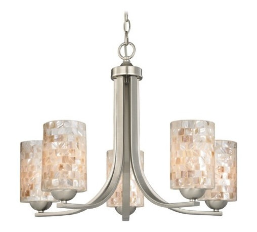 Design Classics Lighting - Chandelier with Mosaic Glass in Satin Nickel Finish - 584-09 GL1026C - Mosaic glass satin nickel 5-light chandelier with cylinder glass shades. Takes (5) 100-watt incandescent A19 bulb(s). Bulb(s) sold separately. UL listed. Dry location rated.