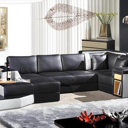"VIG Furniture - VIG Furniture - Contemporary leather Sectional Sofa - VGEV2314 - With a Modern design in a sleek look of black and white with side panel  storage and a beautiful back corner design for a perfect edge finish      Features: Italian leatherAvailable in different colors (Special Order 6-8 weeks)Half Leather (front -is real Italian Leather, back-leather match).Adjustable end table on chaiseWood storage drawer on the right sideOnly solid hardwood products are used in the frame construction.All corners are ""blocked"", nailed, and glued for strength and durability.All of the seats and backs are high density (2.1) foam to give comfort and"