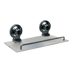 Rectangular Bath Shelf on Strong Suction Cups Acrylic Chrome - This rectangular bath shelf is made of frosted acrylic and provides adequate storage for all your shower accessories. It features a chrome finish railing and has two extremely strong chrome suction cups for a secure adhesion to bath tiles. Simply turn the suction cup buttons and hold firmly to your shower wall. It easily holds small bottles, sponges, body washes, shampoos or lotions without any drilling, tools, or damage to your walls. Length of 11-Inch, depth of 4.7-Inch and height of 3.5-Inch. Wipe clean with soapy water. Color chrome and transparent. Organize your bath items and tidy up your shower area with this rectangular bath shelf! Complete your decoration with other products of the same collection. Imported.