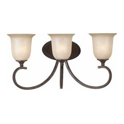 """Triarch International - Triarch International 25981 Wrought Iron Three Light 21.5"""" Wide Bath Fixture - 3 light bath fixture featuring Hand Painted Rainbow Scavo GlassRequires 3-100w Medium Base Bulbs (Not Included)"""