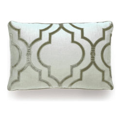 Velvet Gate Pillow - Blustin - A Moroccan motif expanded into a space-filling lantern shape makes for sumptuous curves and eye-catching drama on the Velvet Gate Pillow. In the designer's signature pale blue, the solid background provides a light, soft hue in your room, while the subtle silvery plush used to indicate the outlines of the design contrasts in sheen for a sophisticated appearance. This rectangular cushion looks stunning in a window seat or on a daybed.