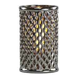 Brasa Fire - Round Argyle Shadow Lantern Chrome - Brasa Fire's Round Shadow Lanterns are versatile alcohol-burning smokeless vent free bio ethanol fireplaces made from high temperature ceramic surrounds and stainless steel burner inserts. Chrome color and diamond Argyle pattern. Can be used in a range of settings in both indoor and outdoor environments. Unlike a traditional fireplace or stationary fire pit their uncomplicated setup means you can move them at a moment's notice - line them in a row on on the floor to light an aisle or walkway at a wedding or party, set them inside an old fireplace hearth (no flue needed since bio ethanol is clean burning and only emits heat, water vapor and tiny amounts of carbon dioxide into the air), use them as a tabletop centerpiece in your dining room or outside on your patio or terrace, place them poolside for a moonlight swim.