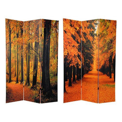 Oriental Furniture - 6 ft. Tall Double Sided Autumn Trees Room Divider - Trees are a gift of nature that seem to be slipping away faster and faster as our world changes and grows. These lovely deciduous trees, changing with the season, emblazoned with their remarkable range of natural fall colors; rich reds, pale yellows, rusty orange, beautiful browns and greens, can bring wonderful Earth tones to warm the decor of any room, home or office.