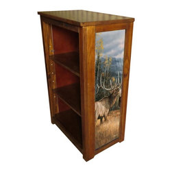Kelseys Collection - Book cabinet 3 shelf Meadow Music - Book cabinet in solid pine features three adjustable storage shelves with two giclee prints on the side panels, showcasing Rosemary Millette artwork. The giclee print have three coats of UV inhibitor. Dimensions are 33BY22BY12 Net weight 20 pounds. Three adjustable shelves. Estimated assembly time 20 minutes.