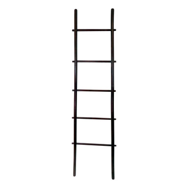 """Master Garden Products - 6' Bamboo Ladder Rack, choice of rosewood or white stain finish, Rosewood - Our bamboo ladder rack is uniquely designed to be used as a towel rack. It is made of natural solid bamboo and sand finished for indoor use. Extra wide rails for easy hanging and strong enough to be used for everyday household chores. Beautiful rosewood stain finish. Top of ladder: 17"""" wide, bottom of ladder: 21"""" wide"""
