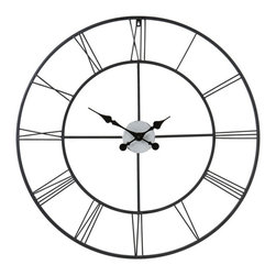Southern Enterprises - Holly & Martin Lucas Decorative Wall Clock - Whether you add this classic oversized wall clock to your living room, den or home office, you will love the contrast of contemporary vintage that this piece offers. with a thin frame and perfectly placed roman numerals, this clock is not only functional, but stylish as well. This clock will add a simple elegance to your home that cannot be found elsewhere.
