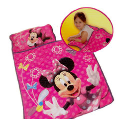 Jay Franco and Sons - Minnie Mouse Clubhouse Bows Toddler Nap Mat Sleeping Roll - FEATURES: