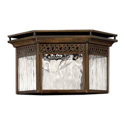 Hinkley Lighting - Westwinds Flush Mount Outdoor Lantern - Westward flowing details over Waterglass panels create an unrivaled style when paired with the Sienna finish of the Westwinds collection. Comes in Sienna finish. Takes 3 40 Watt Candle Bulbs.