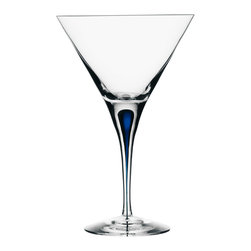 Orrefors - Orrefors Intermezzo Blue MartiniGlass - Add a touch of chic sophistication to your home bar with this Orrefors Intermezzo blue martini glass. The crystal glass is both classic and luxurious,and the timeless blue drop design in the stem provides a unique and interesting focal point.
