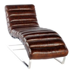 Vintage Classics-Lazzaro - Vintage Furniture Classics-  Leather | Ripple Snap Vintage Leather Lounger - Wow what a fantastic look in a chaise lounger. Ripple brings it all together in a comfortable , relaxing effect only a chaise like this can bring you. For those who appreciate style and design, the Ripple is what you desire. The rounded polished steel arms, and ribbed leather seat, creates an intuitive and free-thinking environment that inspires. Must sit in it, to experience it!
