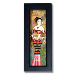 Oriental-Décor - Maiden in a Bronze Wrap - A magnificent piece of Asian artwork, this framed painting from Thailand exhibits a maiden decked in an extravagantly colored dress. The predominant color theme of her dress is reddish-pink and bronze, creating a stunning display. In her right hand she holds a bowl of fruit, which symbolizes prosperity and riches. Her hairstyle and elegant necklace suggest a royal heritage. A cute alluring smile and beautiful eyes fill out her face, as she regally peers into the distance. The background contains warm pastel-like colors of pinks, greens and gold, creating a homely feel and a warm touch. Hang this exotic Thai framed art painting anywhere in your home or office for enriching Asian decor.