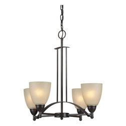 Forte Lighting - Forte Lighting 2423-04 22Wx22H 4 Light Chandelier - Contemporary / Modern 4 Light Chandelier