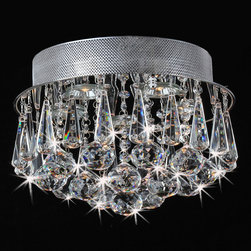 None - Chrome Flush Mount Drop Crystal Chandelier - This flush-mount crystal chandelier makes a stunning addition to any decor. With an iron base, chrome finish, and five-light design, this elegant crystal chandelier provides a stunning way to illuminate dining rooms and entrance ways.