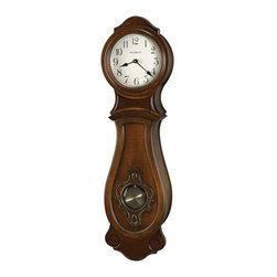 HOWARD MILLER - Joslin Wall Wall Clock with Quartz, Triple-Chime Harmonic Movement - Lightly distressed finish in Hampton Cherry on select hardwoods and veneers.