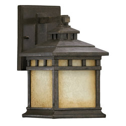 Quorum Lighting - Quorum Lighting Denmark Traditional Outdoor Wall Sconce X-54-0637 - This Mission-style Quorum Lighting Denmark Traditional Outdoor Wall Sconce is a bold and handsome piece. It has a stunning frame in a Baltic granite finish that perfectly complements the Etruscan shade with amber accents. It's an attractive piece that will definitely cast a a warm and natural hue of light in most any space.