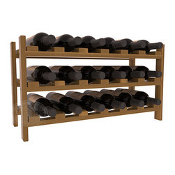 18 Bottle Stackable Wine Rack in Redwood with Oak Stain + Satin Finish - Expansion to the next level! Stack these 18 bottle kits as high as the ceiling or place a single one on a counter top. Designed with emphasis on function and flexibility, these DIY wine racks are perfect for young collections and expert connoisseurs.