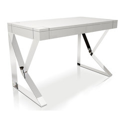 MODLOFT - MODLOFT Houston Desk - Smooth table top with two concealed full extension drawers complete the unit. European soft-closing glides enable effortless drawer movement.