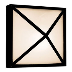 Access Lighting - Oden Wall Sconce by Access Lighting - As a bulkhead lighting fixture, the Access Lighting Oden Wall Sconce displays notable strength in its simplicity of form. The square metal frame forms a pyramid around the textural Frosted glass shade, both protecting the shade and giving the overall design added dimension. Suitable for any exterior lighting application. Available in two sizes and finishes.Access Lighting, a California company, provides practical, beautiful, and affordable time-tested classics and energy efficient lighting. Exclusive designs in contemporary and traditional styles for indoors and outdoors are gathered from around the world.The Access Lighting Oden Wall Sconce is available with the following:Details:Frosted glass shadeMetal frameETL Listed for wet locationsOptions:Finish: Black, or Satin.Size: Large, or Small.Lighting:Large option utilizes two 75 Watt 120 Volt Type E26 Medium Base Incandescent lamps (not included).Small option utilizes two 60 Watt 120 Volt Type E26 Medium Base Incandescent lamps (not included).Shipping:This item usually ships within 2 days.