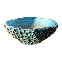 """Hand Built Ceramic Planter - This large Ceramic Planter is handmade, therefore one of a kind. I use individual coils to build up the base, then I manipulate the clay to give it a organic, wavy texture. The glaze is a matte green with slight black highlights that gives it a patina look. The inside dimensions are approximately 20"""" w x 7"""" d. It is stoneware, fired to 2300 degrees so it will withstand the outdoor elements for years to come. There are 4 drainage holes on the bottom."""