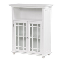 None - Stripe 2-door Floor Cabinet - Organize towels,toiletries,and other bathroom essentials with this stylish two-door bathroom floor cabinet. This white cabinet is made from long-lasting wood and will add an elegant yet functional element to the family bath.